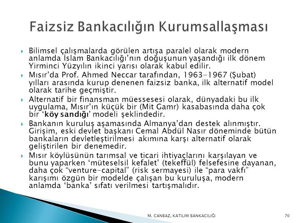  Bilimsel çalışmalarda görülen artışa paralel olarak modern anlamda İslam Bankacılığı'nın doğuşunun yaşandığı ilk dönem Yirminci Yüzyılın ikinci yarısı olarak kabul edilir.