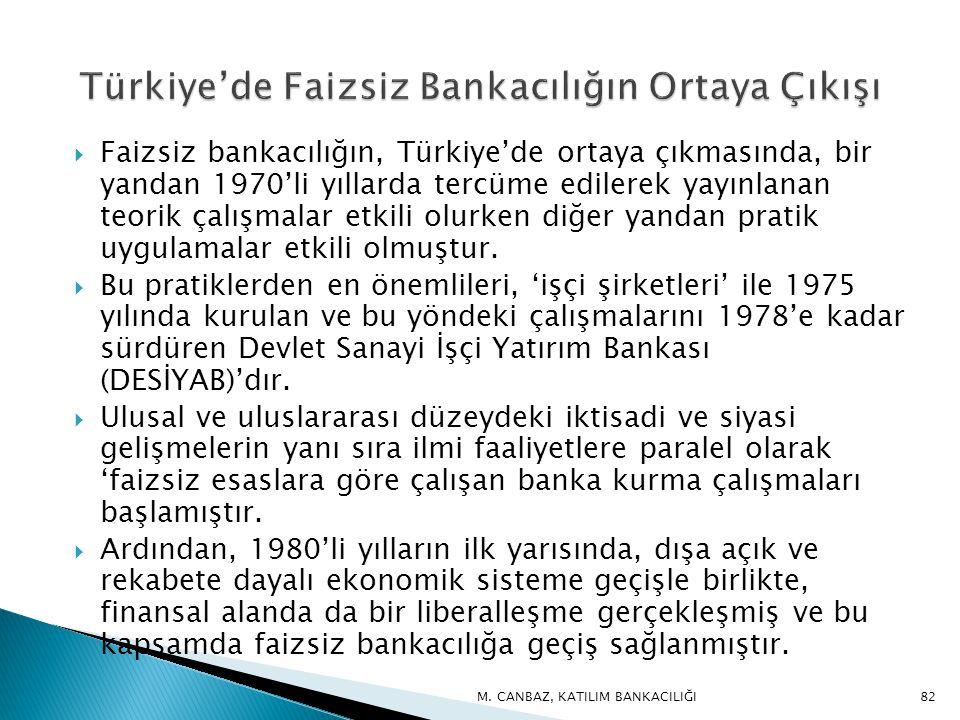  Faizsiz bankacılığın, Türkiye'de ortaya çıkmasında, bir yandan 1970'li yıllarda tercüme edilerek yayınlanan teorik çalışmalar etkili olurken diğer yandan pratik uygulamalar etkili olmuştur.