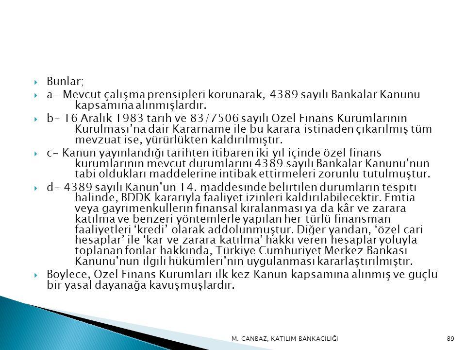  Bunlar;  a- Mevcut çalışma prensipleri korunarak, 4389 sayılı Bankalar Kanunu kapsamına alınmışlardır.
