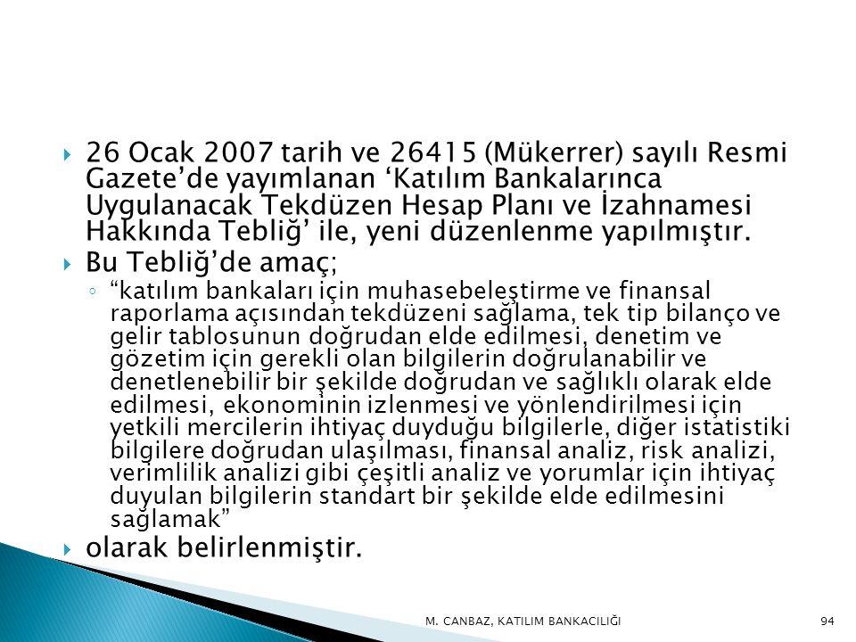  26 Ocak 2007 tarih ve 26415 (Mükerrer) sayılı Resmi Gazete'de yayımlanan 'Katılım Bankalarınca Uygulanacak Tekdüzen Hesap Planı ve İzahnamesi Hakkında Tebliğ' ile, yeni düzenlenme yapılmıştır.