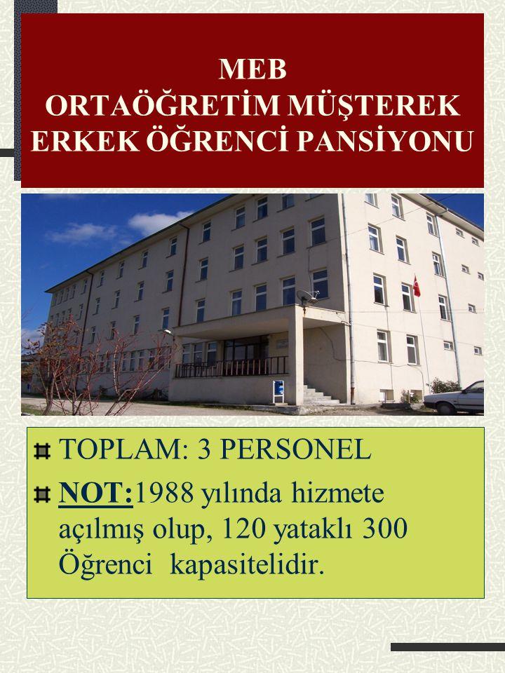 ÖĞRETMENEVİ VE LOKALİ 1 Müdür (Görevlendirme) 1 Müstecir NOT: 2007 tarihinde hizmete açılmış olup, 1 Lokal, 1 Toplantı ve okuma salonu, 10 yataklı ote