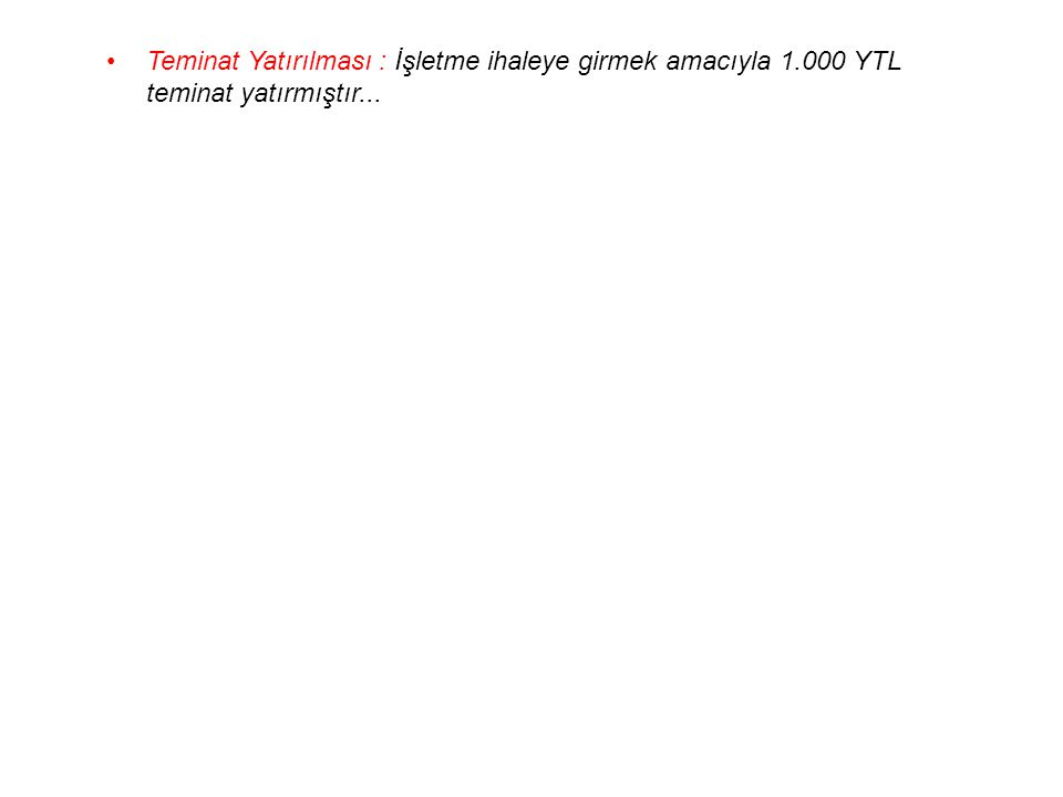 Teminat Yatırılması : İşletme ihaleye girmek amacıyla 1.000 YTL teminat yatırmıştır...