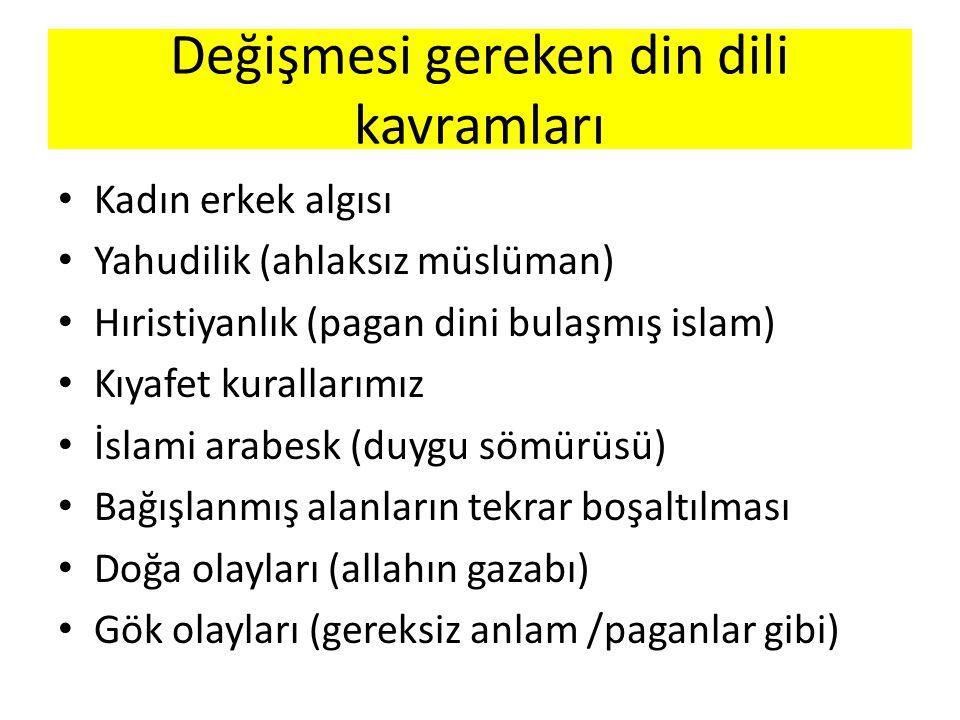 Kadın erkek algısı Yahudilik (ahlaksız müslüman) Hıristiyanlık (pagan dini bulaşmış islam) Kıyafet kurallarımız İslami arabesk (duygu sömürüsü) Bağışl