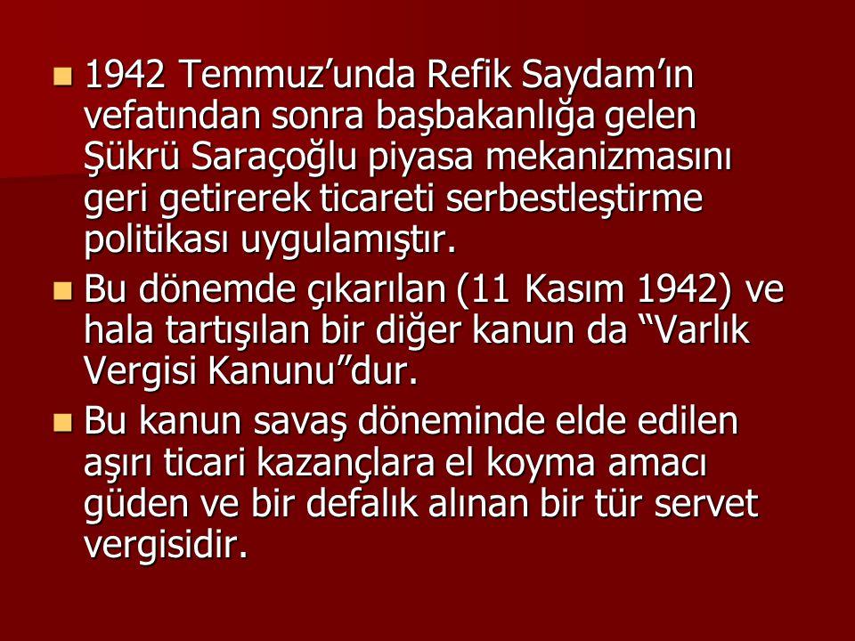 1942 Temmuz'unda Refik Saydam'ın vefatından sonra başbakanlığa gelen Şükrü Saraçoğlu piyasa mekanizmasını geri getirerek ticareti serbestleştirme poli