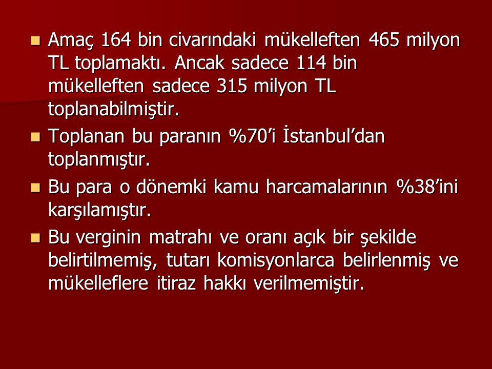Amaç 164 bin civarındaki mükelleften 465 milyon TL toplamaktı. Ancak sadece 114 bin mükelleften sadece 315 milyon TL toplanabilmiştir. Amaç 164 bin ci