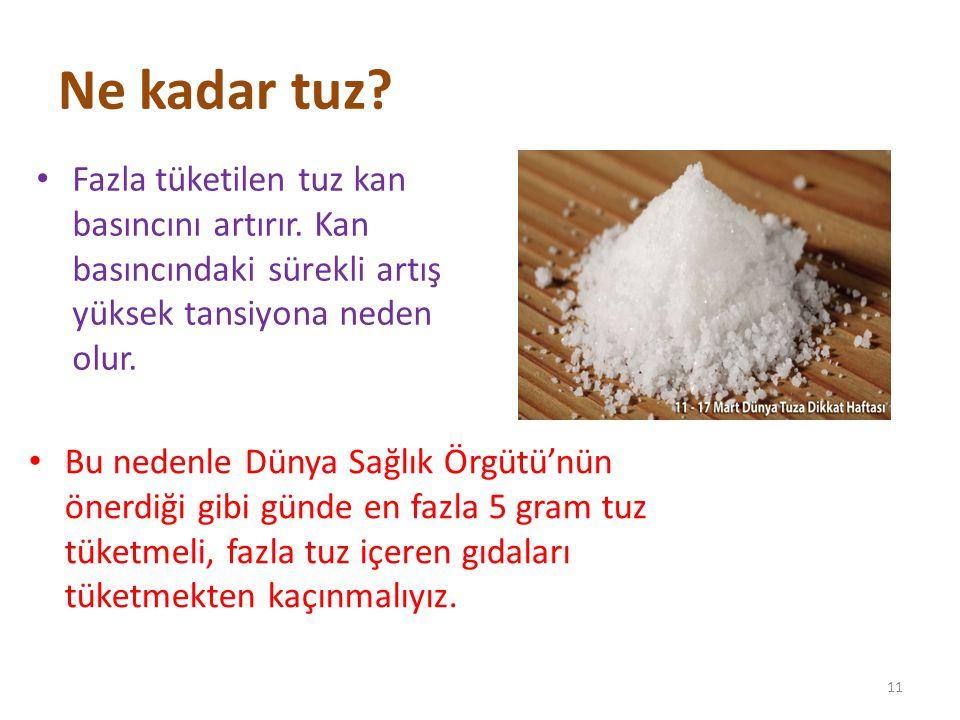 Ne kadar tuz? Fazla tüketilen tuz kan basıncını artırır. Kan basıncındaki sürekli artış yüksek tansiyona neden olur. 11 Bu nedenle Dünya Sağlık Örgütü