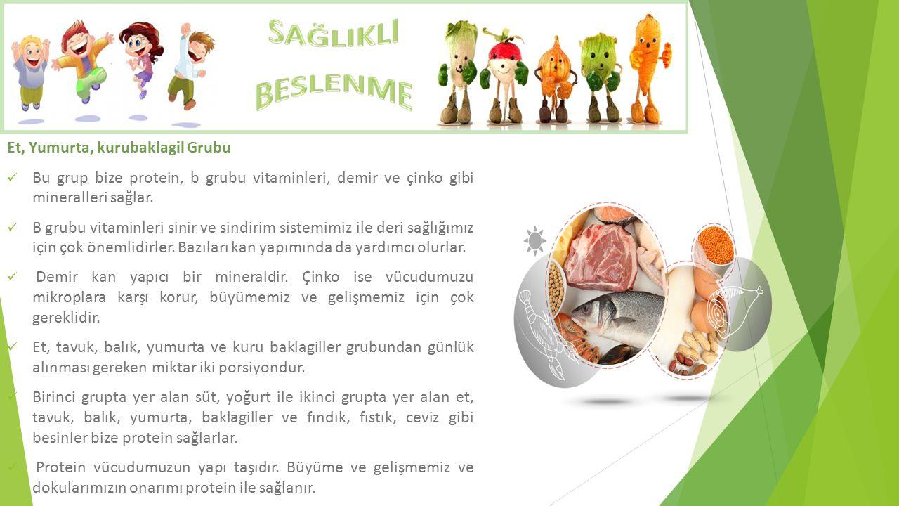 Et, Yumurta, kurubaklagil Grubu Bu grup bize protein, b grubu vitaminleri, demir ve çinko gibi mineralleri sağlar. B grubu vitaminleri sinir ve sindir