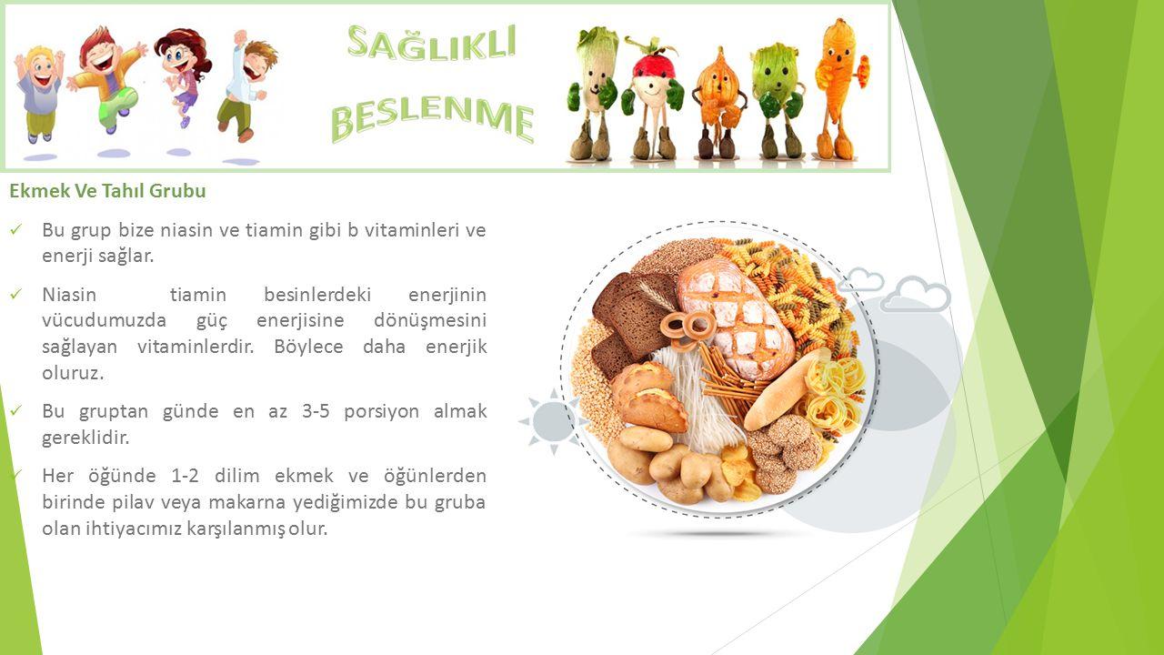 Ekmek Ve Tahıl Grubu Bu grup bize niasin ve tiamin gibi b vitaminleri ve enerji sağlar. Niasin tiamin besinlerdeki enerjinin vücudumuzda güç enerjisin