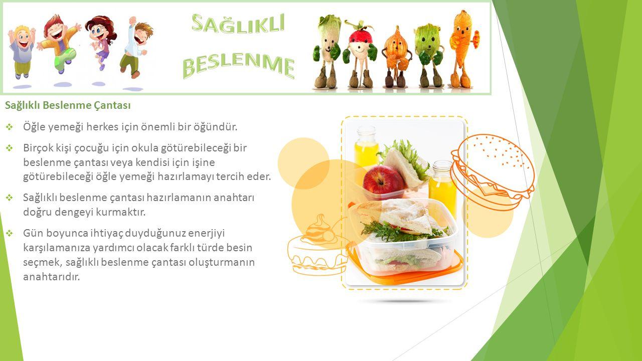 Sağlıklı Beslenme Çantası  Öğle yemeği herkes için önemli bir öğündür.  Birçok kişi çocuğu için okula götürebileceği bir beslenme çantası veya kendi