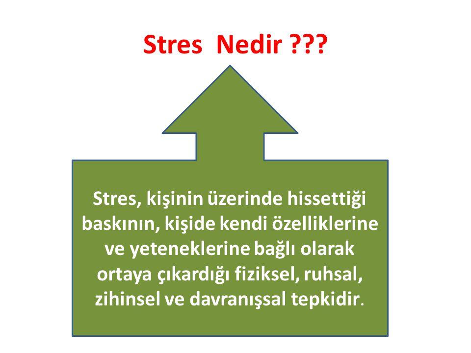 Stres Nedir ??? Stres, kişinin üzerinde hissettiği baskının, kişide kendi özelliklerine ve yeteneklerine bağlı olarak ortaya çıkardığı fiziksel, ruhsa