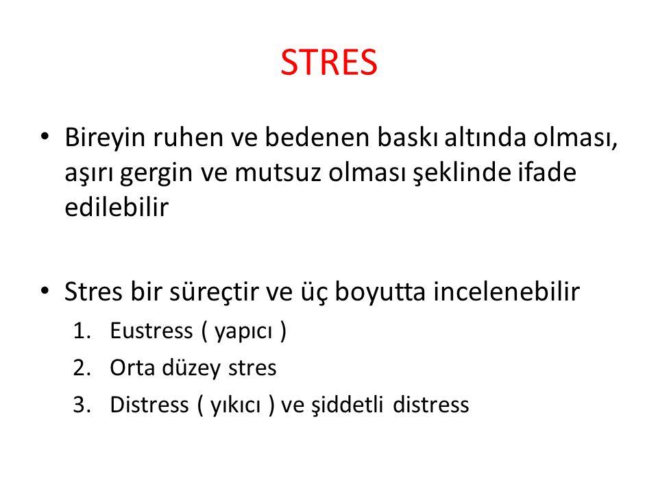 STRES Bireyin ruhen ve bedenen baskı altında olması, aşırı gergin ve mutsuz olması şeklinde ifade edilebilir Stres bir süreçtir ve üç boyutta incelene