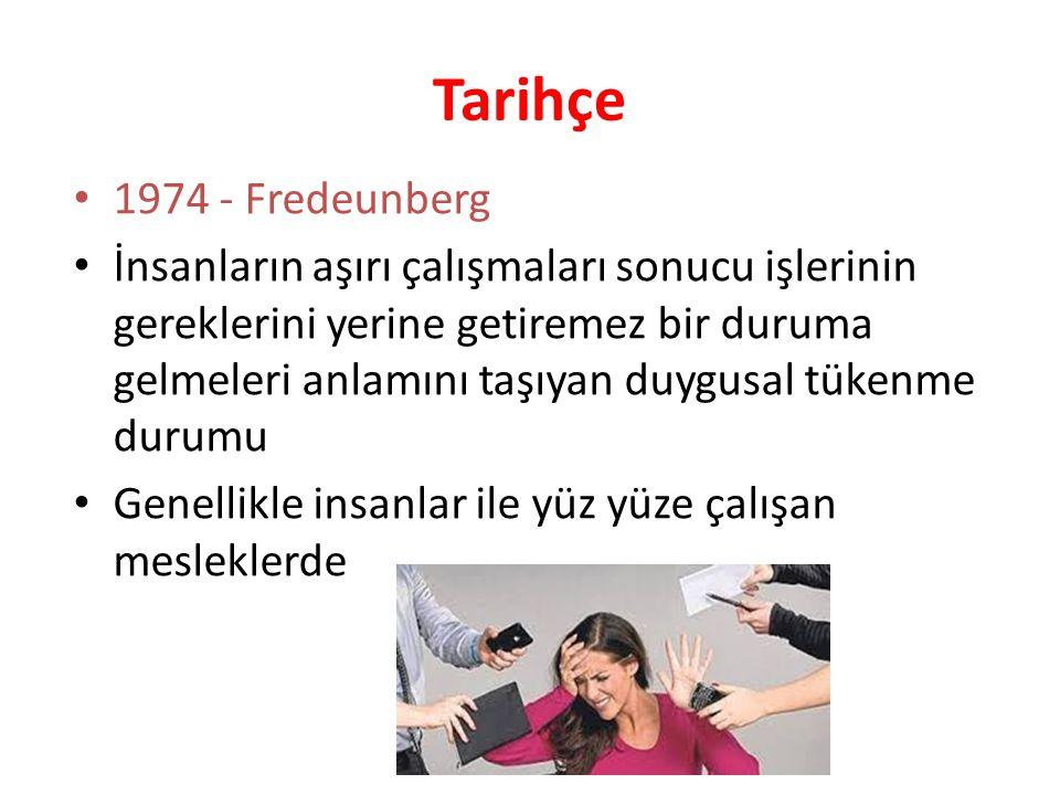 Tarihçe 1974 - Fredeunberg İnsanların aşırı çalışmaları sonucu işlerinin gereklerini yerine getiremez bir duruma gelmeleri anlamını taşıyan duygusal t