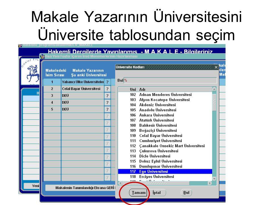 Makale Yazarının Üniversitesini Üniversite tablosundan seçim