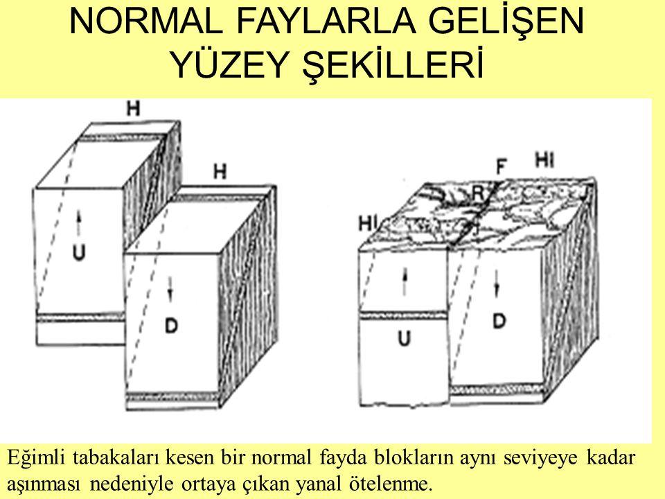 Eğimli tabakaları kesen bir normal fayda blokların aynı seviyeye kadar aşınması nedeniyle ortaya çıkan yanal ötelenme. NORMAL FAYLARLA GELİŞEN YÜZEY Ş