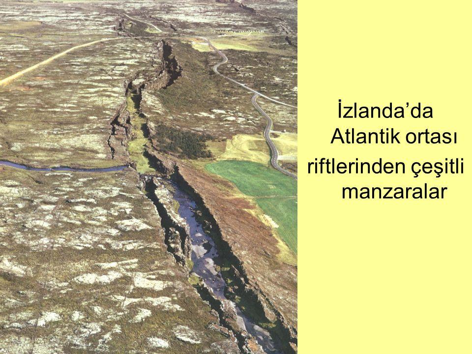 İzlanda'da Atlantik ortası riftlerinden çeşitli manzaralar