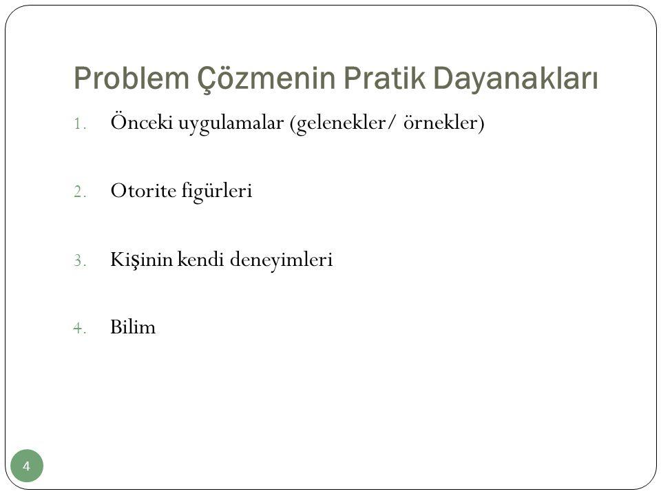 Problem Çözmenin Pratik Dayanakları 1. Önceki uygulamalar (gelenekler/ örnekler) 2. Otorite figürleri 3. Ki ş inin kendi deneyimleri 4. Bilim 4