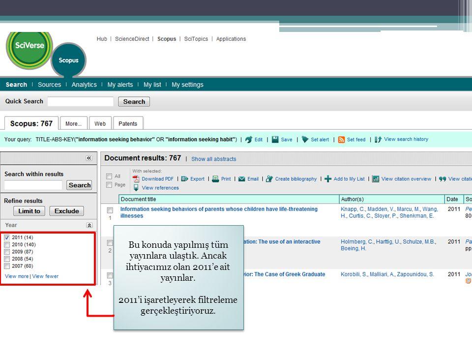 Bu konuda yapılmış tüm yayınlara ulaştık. Ancak ihtiyacımız olan 2011'e ait yayınlar. 2011'i işaretleyerek filtreleme gerçekleştiriyoruz. Bu konuda ya