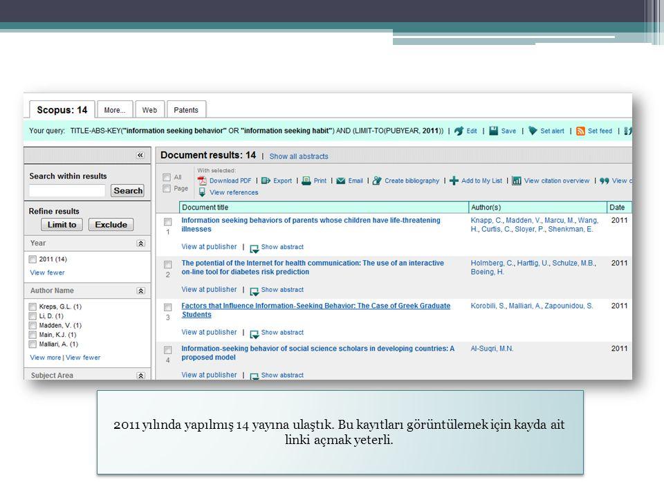 2011 yılında yapılmış 14 yayına ulaştık. Bu kayıtları görüntülemek için kayda ait linki açmak yeterli.