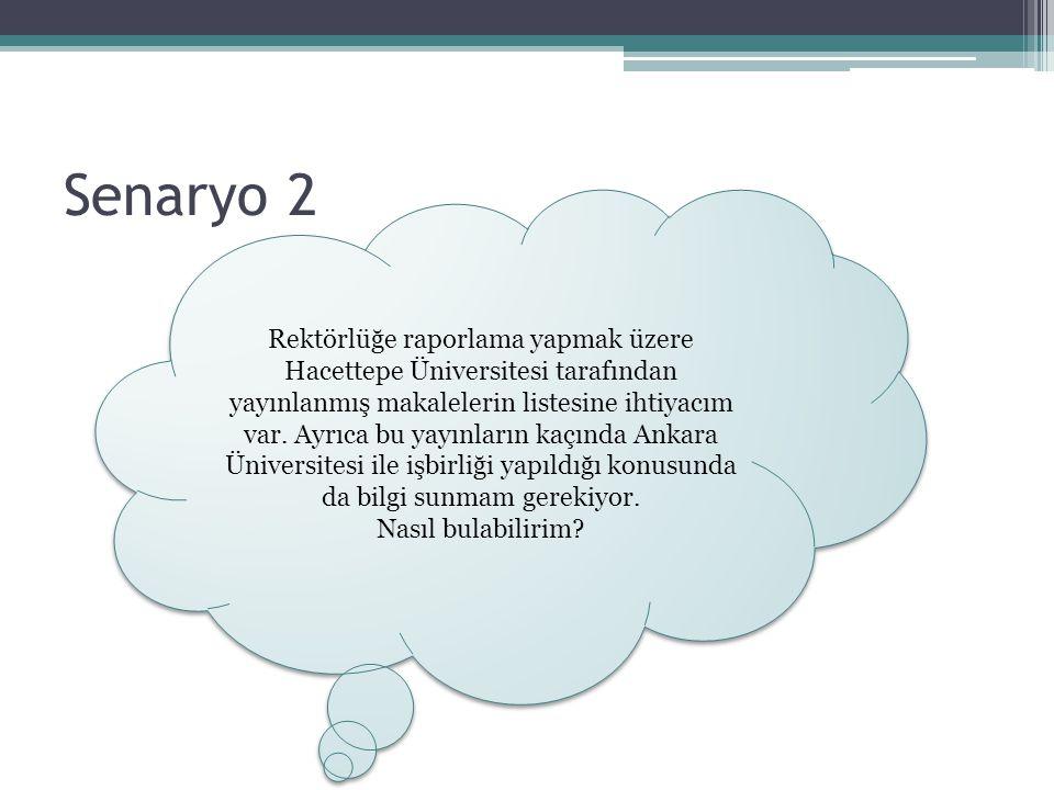 Senaryo 2 Rektörlüğe raporlama yapmak üzere Hacettepe Üniversitesi tarafından yayınlanmış makalelerin listesine ihtiyacım var. Ayrıca bu yayınların ka