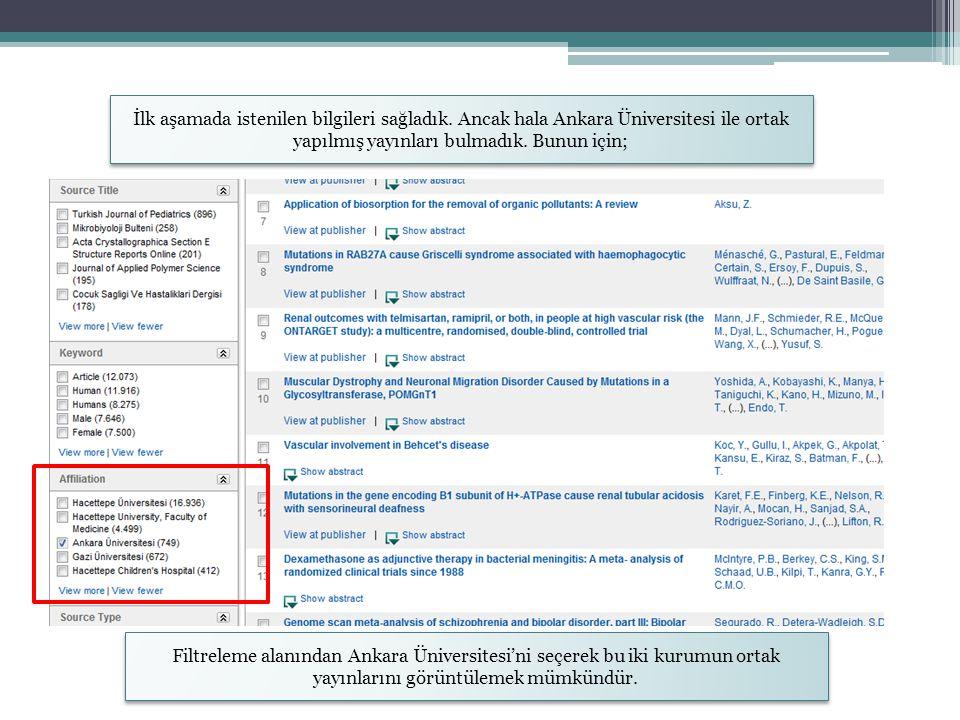 İlk aşamada istenilen bilgileri sağladık. Ancak hala Ankara Üniversitesi ile ortak yapılmış yayınları bulmadık. Bunun için; Filtreleme alanından Ankar