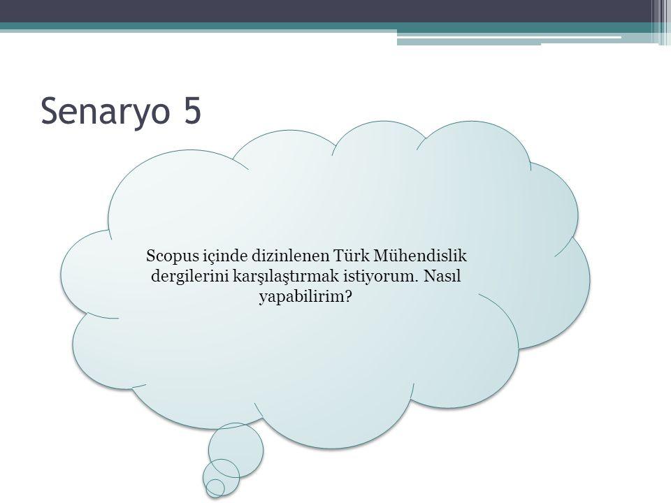 Senaryo 5 Scopus içinde dizinlenen Türk Mühendislik dergilerini karşılaştırmak istiyorum. Nasıl yapabilirim?