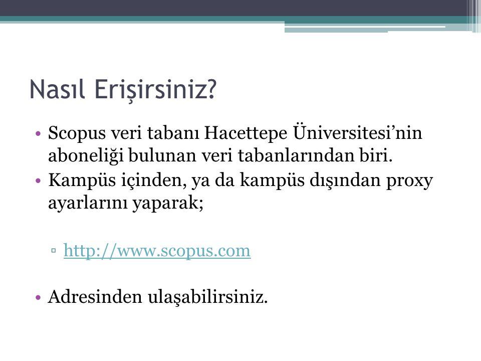 Nasıl Erişirsiniz? Scopus veri tabanı Hacettepe Üniversitesi'nin aboneliği bulunan veri tabanlarından biri. Kampüs içinden, ya da kampüs dışından prox