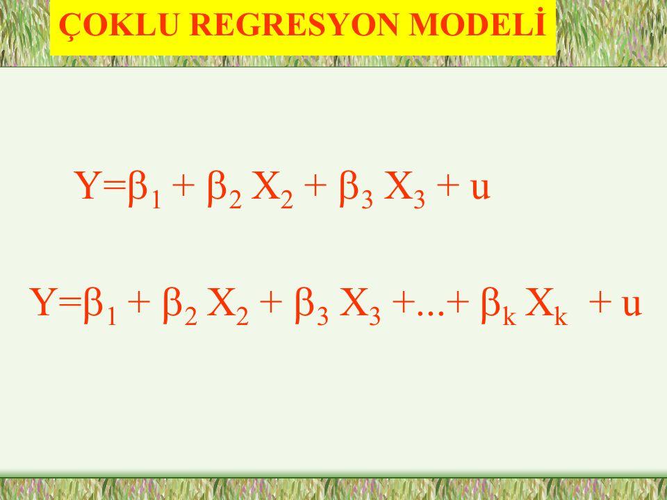 ÇOKLU REGRESYON MODELİ Y=  1 +  2 X 2 +  3 X 3 + u Y=  1 +  2 X 2 +  3 X 3 +...+  k X k + u