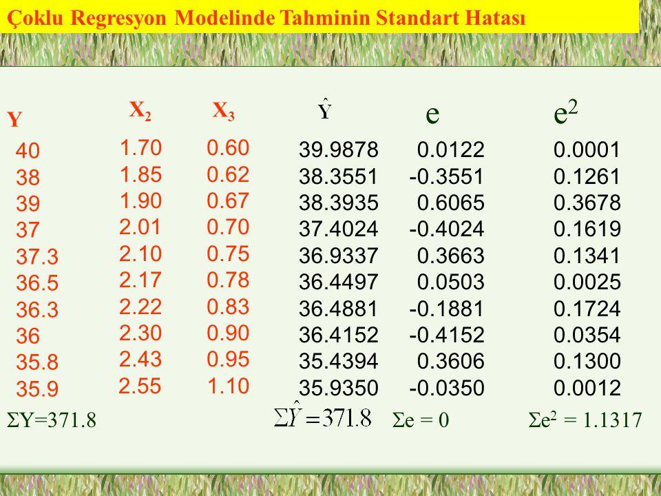 Çoklu Regresyon Modelinde Tahminin Standart Hatası