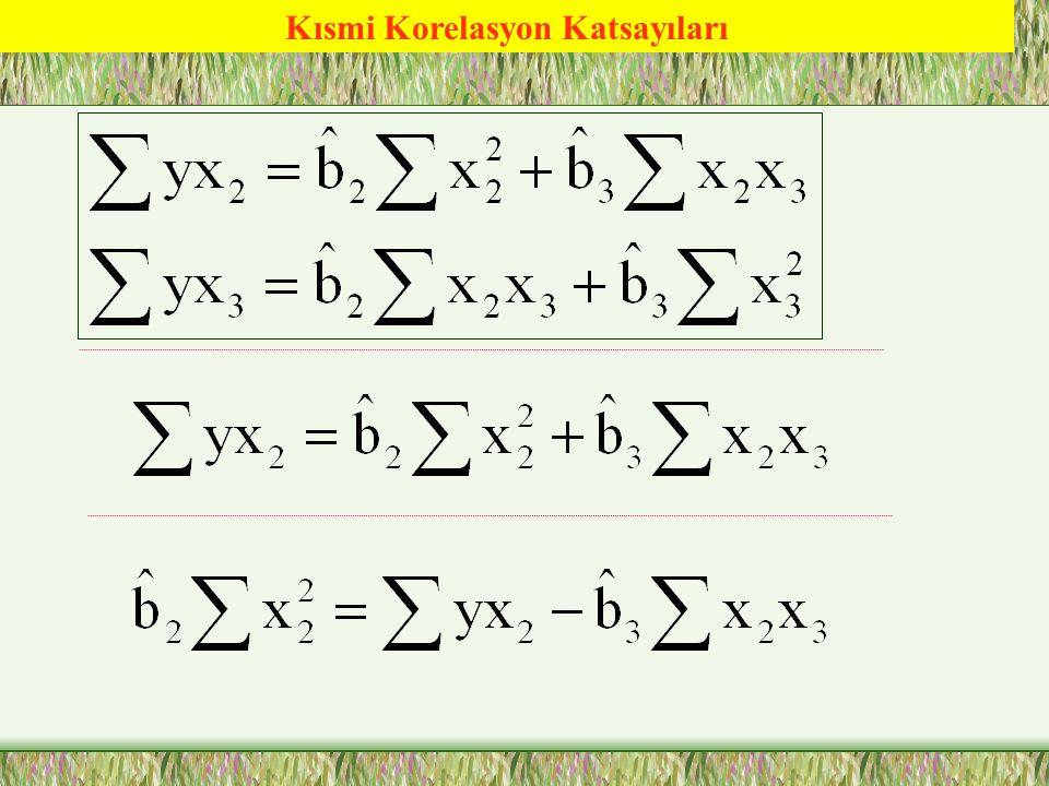 Basit Korelasyon Katsayıları = -0.9127 = -0.8210 = 0.9763