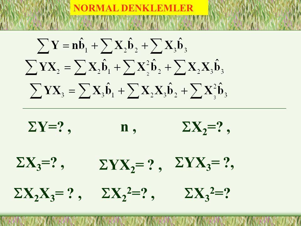 ÖRNEK REGRESYON DENKLEMİ Katsayıların Tahmini Normal Denklemler ile, Ortalamadan Farklar ile,