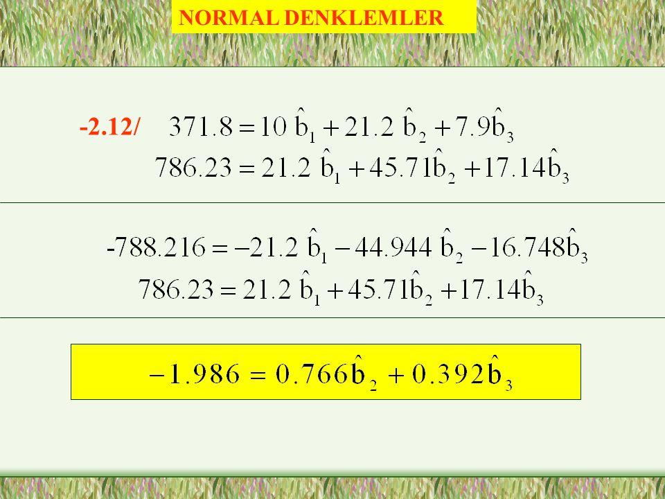 Kısmi Korelasyon Katsayıları = -0.8993 = 0.7917 =0.91