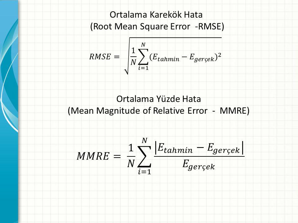 Ortalama Karekök Hata (Root Mean Square Error -RMSE) Ortalama Yüzde Hata (Mean Magnitude of Relative Error - MMRE)