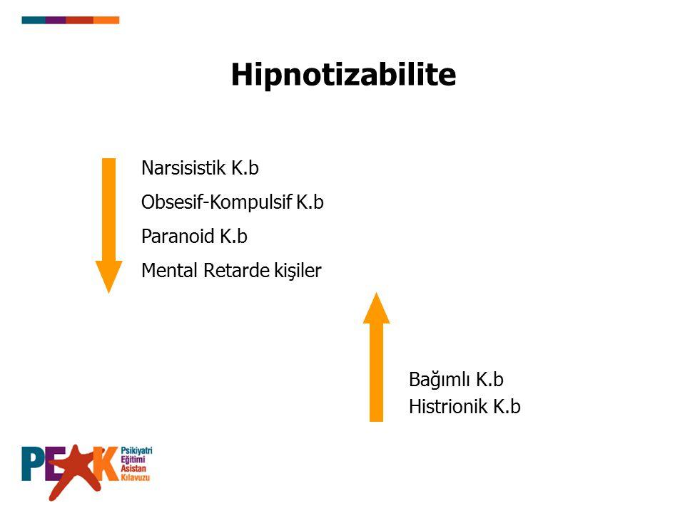Hipnotizabilite Narsisistik K.b Obsesif-Kompulsif K.b Paranoid K.b Mental Retarde kişiler Bağımlı K.b Histrionik K.b