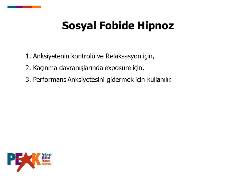 Sosyal Fobide Hipnoz 1. Anksiyetenin kontrolü ve Relaksasyon için, 2. Kaçınma davranışlarında exposure için, 3. Performans Anksiyetesini gidermek için