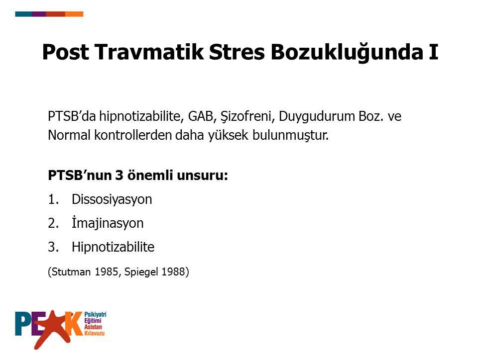 Post Travmatik Stres Bozukluğunda I PTSB'nun 3 önemli unsuru: 1.Dissosiyasyon 2.İmajinasyon 3.Hipnotizabilite (Stutman 1985, Spiegel 1988) PTSB'da hip