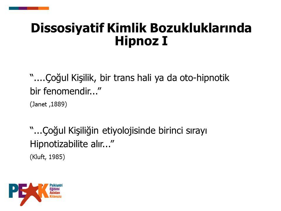 """Dissosiyatif Kimlik Bozukluklarında Hipnoz I """"....Çoğul Kişilik, bir trans hali ya da oto-hipnotik bir fenomendir..."""" (Janet,1889) """"...Çoğul Kişiliğin"""