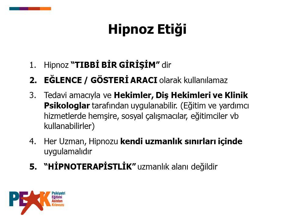 """Hipnoz Etiği 1.Hipnoz """"TIBBİ BİR GİRİŞİM"""" dir 2.EĞLENCE / GÖSTERİ ARACI olarak kullanılamaz 3.Tedavi amacıyla ve Hekimler, Diş Hekimleri ve Klinik Psi"""