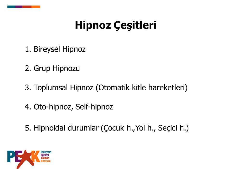 Hipnoz Çeşitleri 1. Bireysel Hipnoz 2. Grup Hipnozu 3. Toplumsal Hipnoz (Otomatik kitle hareketleri) 4. Oto-hipnoz, Self-hipnoz 5. Hipnoidal durumlar