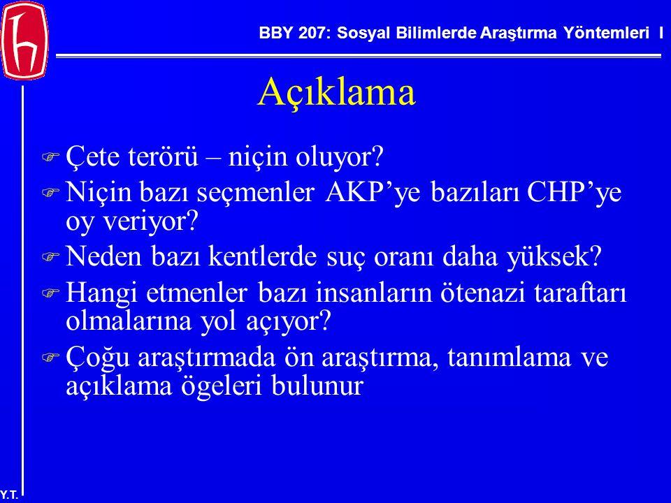 BBY 207: Sosyal Bilimlerde Araştırma Yöntemleri I Y.T.