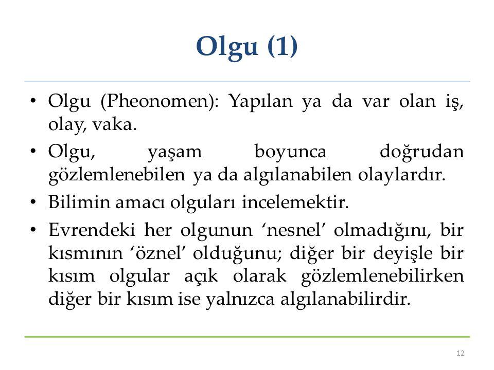 Olgu (1) Olgu (Pheonomen): Yapılan ya da var olan iş, olay, vaka. Olgu, yaşam boyunca doğrudan gözlemlenebilen ya da algılanabilen olaylardır. Bilimin