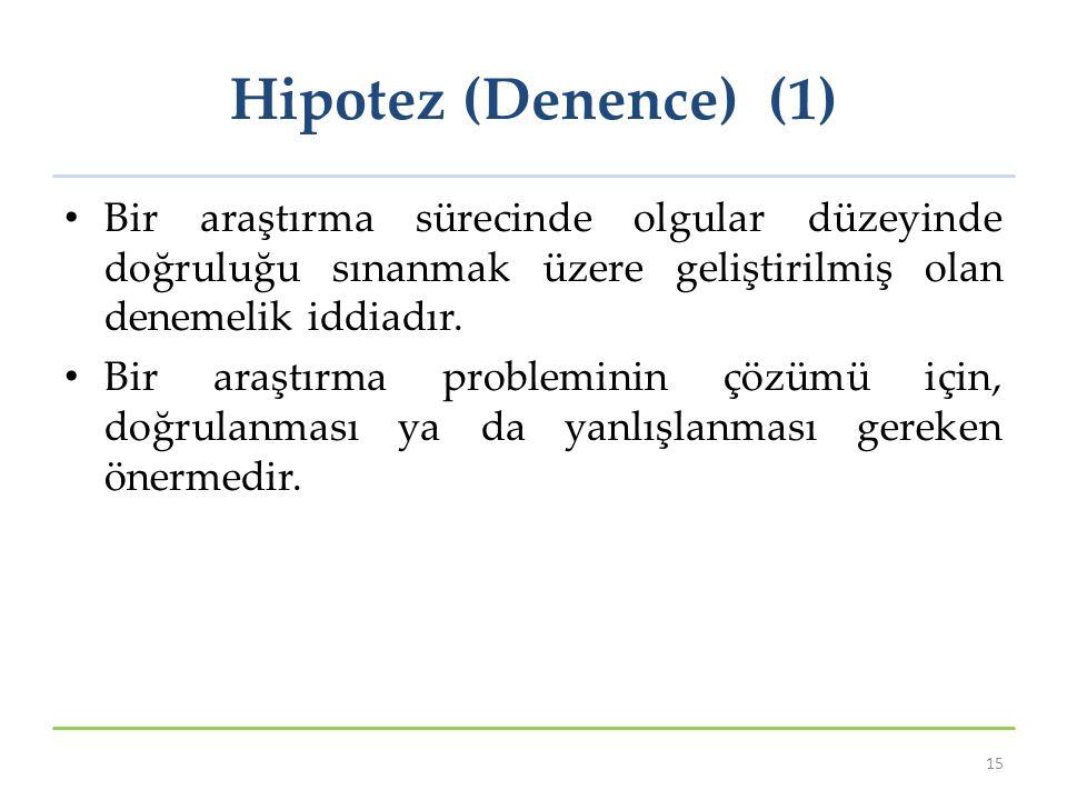 Hipotez (Denence) (1) Bir araştırma sürecinde olgular düzeyinde doğruluğu sınanmak üzere geliştirilmiş olan denemelik iddiadır. Bir araştırma problemi