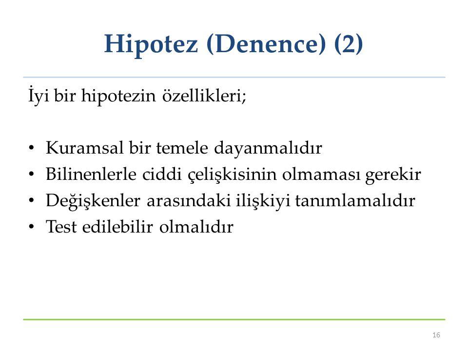Hipotez (Denence) (2) İyi bir hipotezin özellikleri; Kuramsal bir temele dayanmalıdır Bilinenlerle ciddi çelişkisinin olmaması gerekir Değişkenler ara