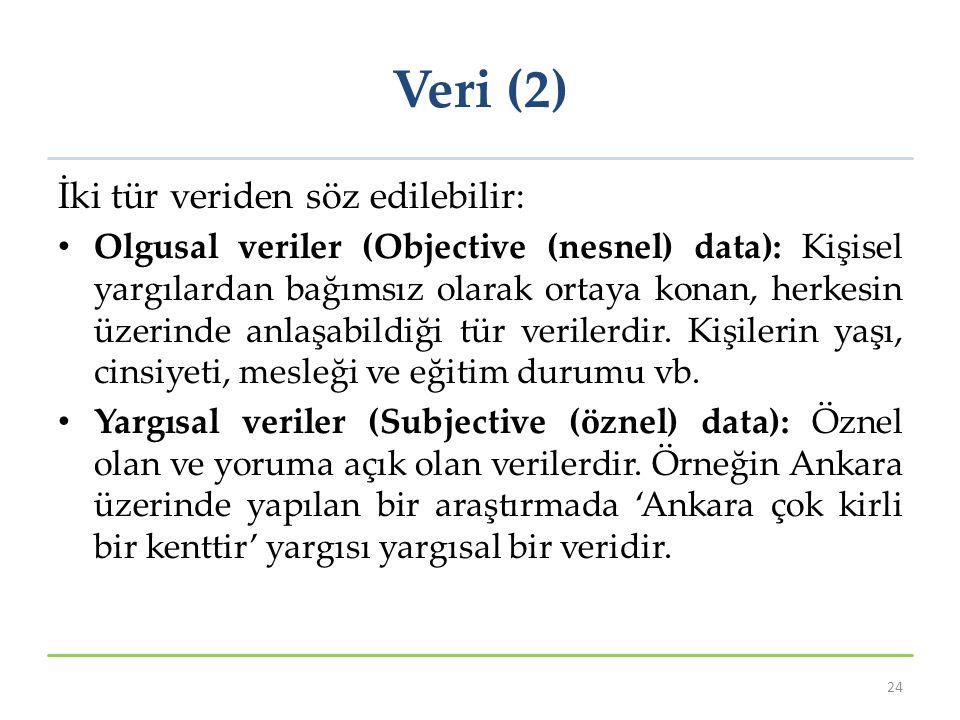 Veri (2) İki tür veriden söz edilebilir: Olgusal veriler (Objective (nesnel) data): Kişisel yargılardan bağımsız olarak ortaya konan, herkesin üzerind