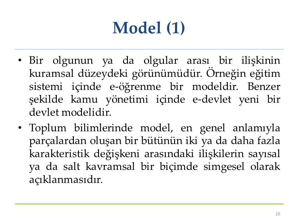 Model (1) Bir olgunun ya da olgular arası bir ilişkinin kuramsal düzeydeki görünümüdür. Örneğin eğitim sistemi içinde e‐öğrenme bir modeldir. Benzer ş