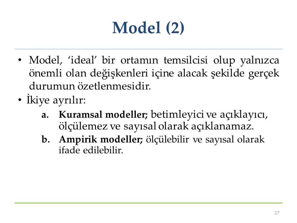 Model (2) Model, 'ideal' bir ortamın temsilcisi olup yalnızca önemli olan değişkenleri içine alacak şekilde gerçek durumun özetlenmesidir. İkiye ayrıl