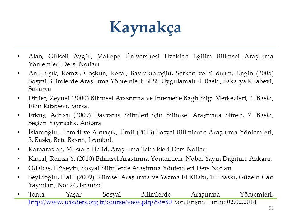 Kaynakça Alan, Gülseli Aygül, Maltepe Üniversitesi Uzaktan Eğitim Bilimsel Araştırma Yöntemleri Dersi Notları Antunışık, Remzi, Coşkun, Recai, Bayrakt