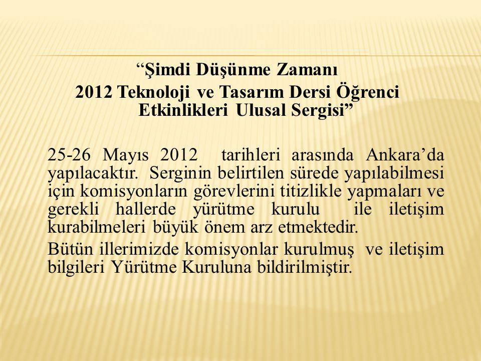 """""""Şimdi Düşünme Zamanı 2012 Teknoloji ve Tasarım Dersi Öğrenci Etkinlikleri Ulusal Sergisi"""" 25-26 Mayıs 2012 tarihleri arasında Ankara'da yapılacaktır."""
