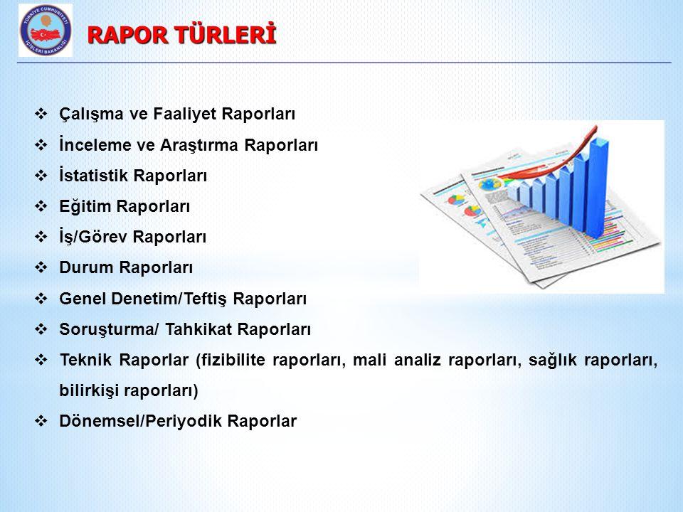  Çalışma ve Faaliyet Raporları  İnceleme ve Araştırma Raporları  İstatistik Raporları  Eğitim Raporları  İş/Görev Raporları  Durum Raporları  Genel Denetim/Teftiş Raporları  Soruşturma/ Tahkikat Raporları  Teknik Raporlar (fizibilite raporları, mali analiz raporları, sağlık raporları, bilirkişi raporları)  Dönemsel/Periyodik Raporlar RAPOR TÜRLERİ RAPOR TÜRLERİ