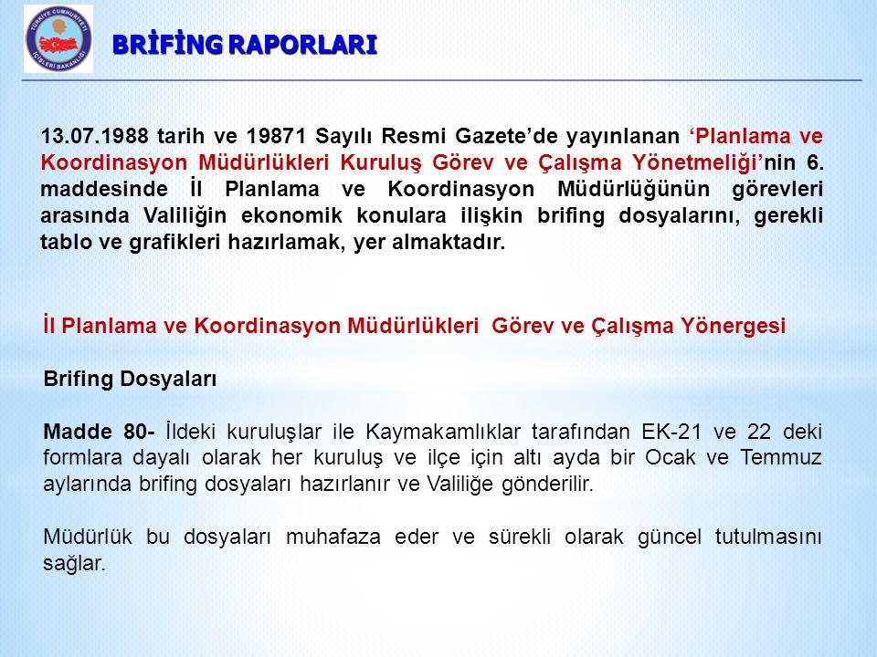 BRİFİNG RAPORLARI BRİFİNG RAPORLARI 13.07.1988 tarih ve 19871 Sayılı Resmi Gazete'de yayınlanan 'Planlama ve Koordinasyon Müdürlükleri Kuruluş Görev ve Çalışma Yönetmeliği'nin 6.