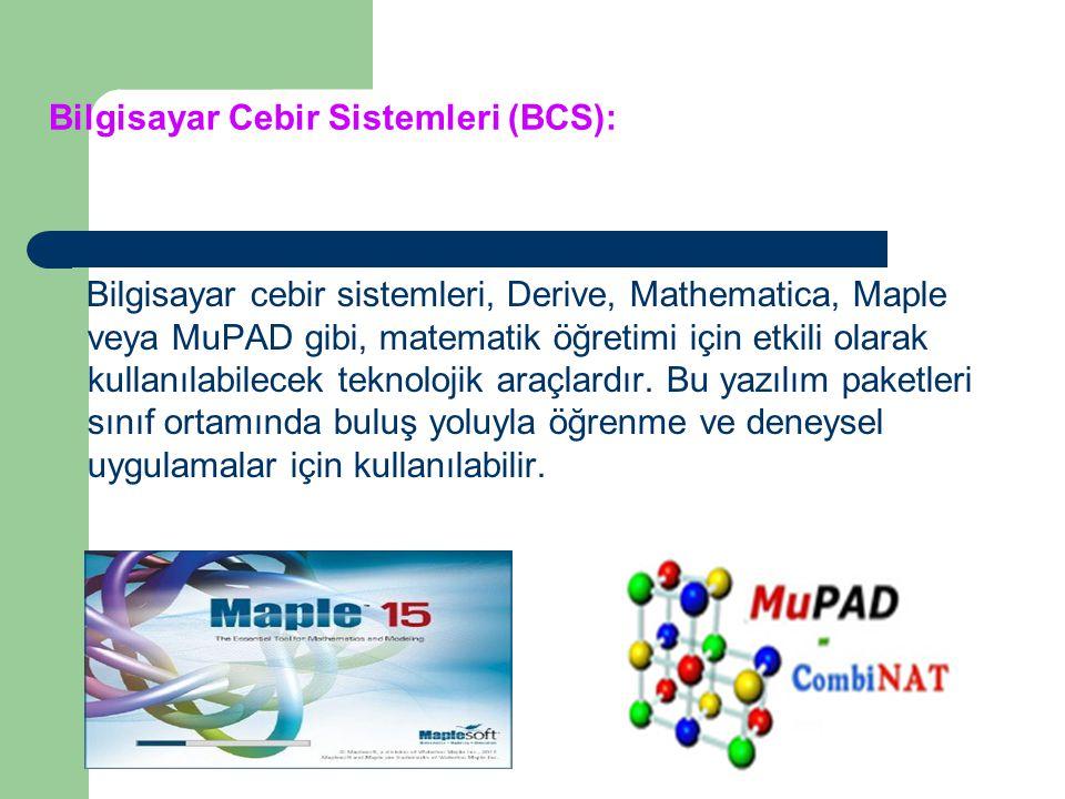 Matematik eğitiminde kullanılan yazılımlar iki türlüdür. Bunlar: Bilgisayar Cebir Sistemleri (BCS) Dinamik Geometri Yazılımları (DGY)